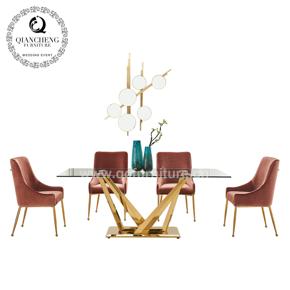 12mm thick tempered glass gold plated dining table 1721#