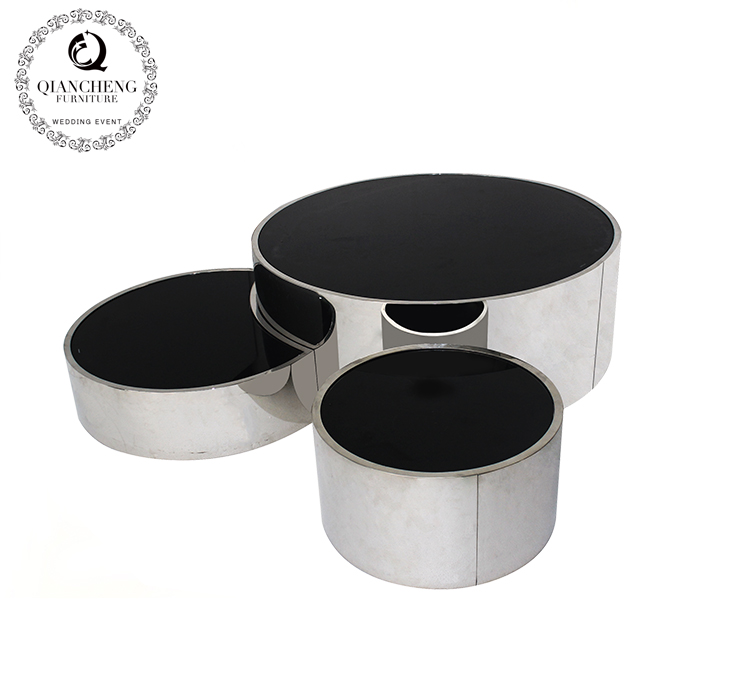 three round pcs for one black glass coffee table set #1625
