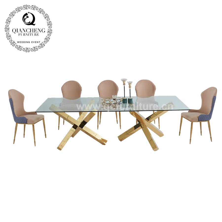2020 Golden furniture glass top dining table set 1681#