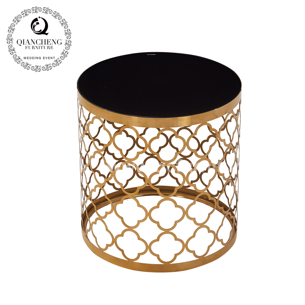 luxury sofa black round glass top metal side tables 1661#