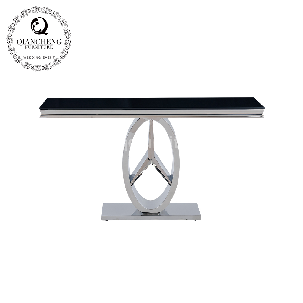 modern appearance black glass stainless steel console table  998#