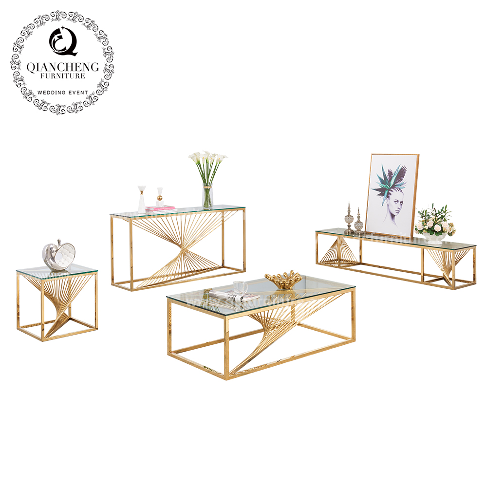 luxury glass top console table gold stainless steel modern 1619#