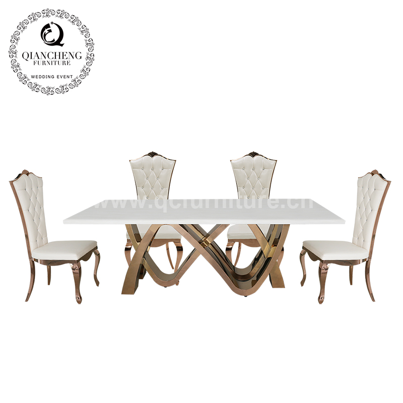 8 seater cream artificial marble dining table rose gold metal leg 1731#