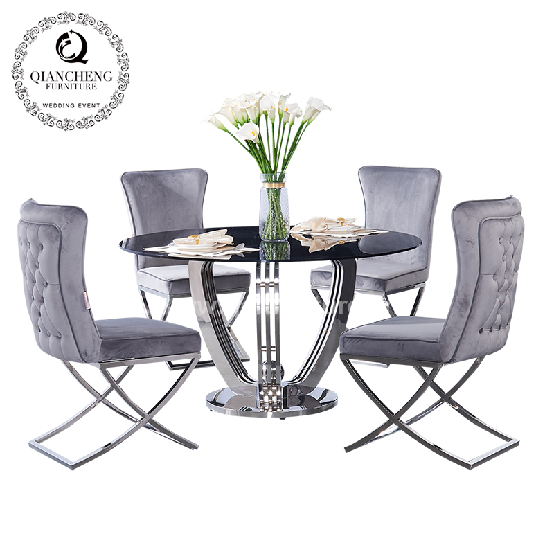 Chinese style round grey tempered glass top dining table 1632#