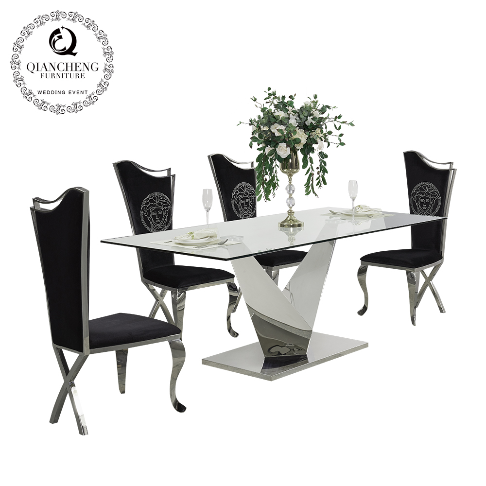 Contemporary clear glass top stainless steel dining room furniture 826#