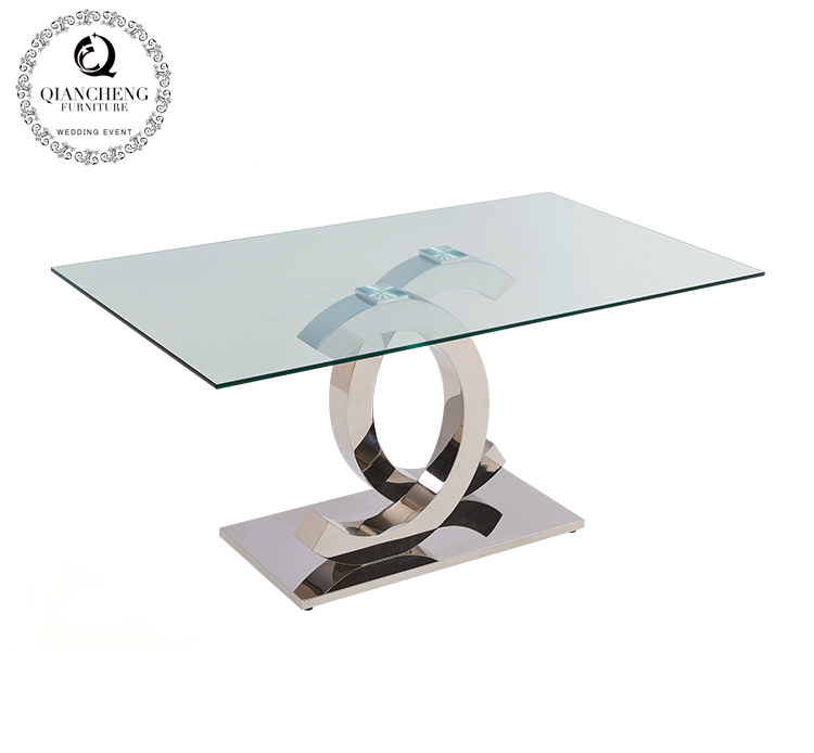 Glass top modern stainless steel dining table 825#