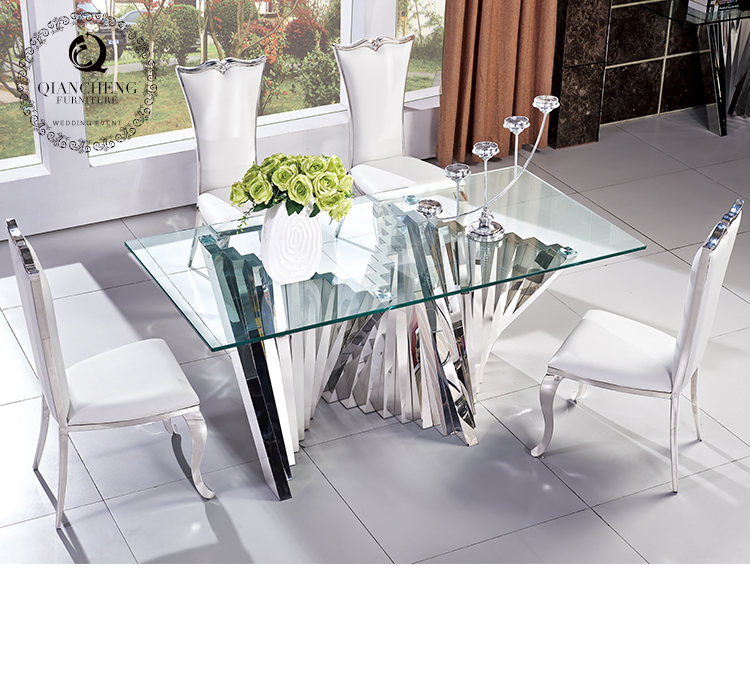 High end mirror silver modern dining room furniture 957#