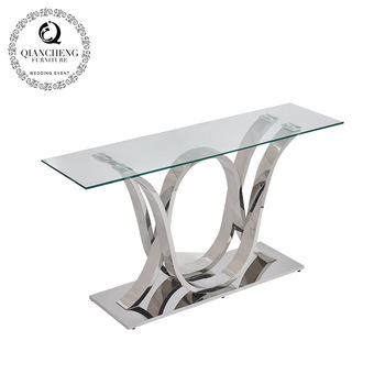 Living room set stainless steel console table with glass top  960#
