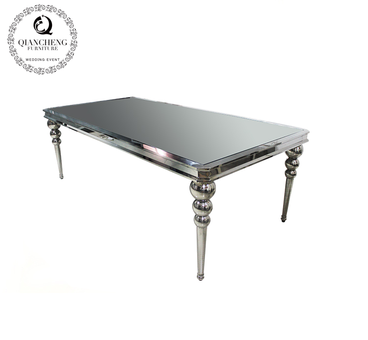 Mirror glass top stainless steel wedding table 979-3#