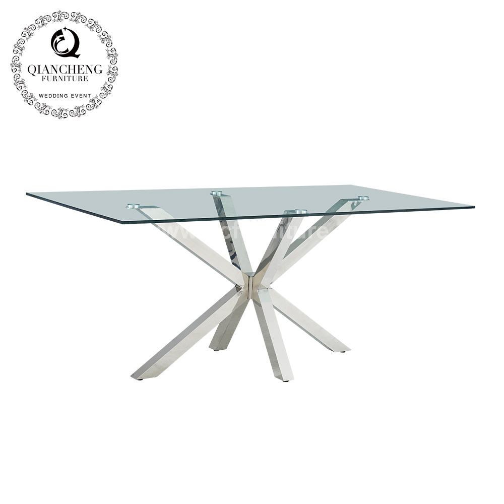 Modern furniture 10mm thick tempered glass rectangular dining table 1698#