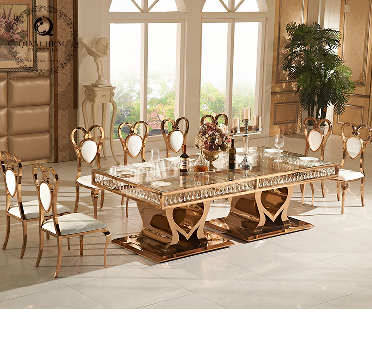 Rose golden heart shaped wedding table hang with crystals 902-1#
