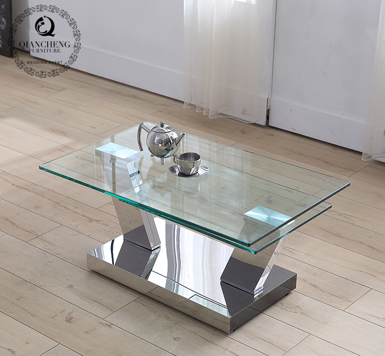 Rotatable functional round glass coffee table 848#