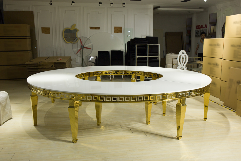 Round stainless steel wedding table can fit 20 people 1075#