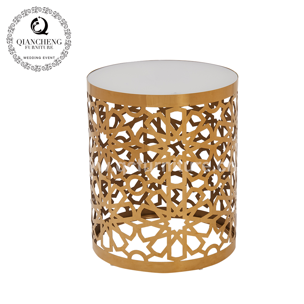 popular luxury round glass top stainless steel design golden side table 1059#