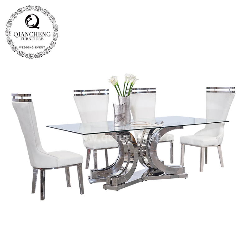 Super big glass top modern dining table 1628#