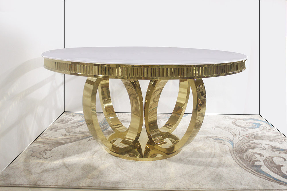 White top golden luxury round wedding table 1082#