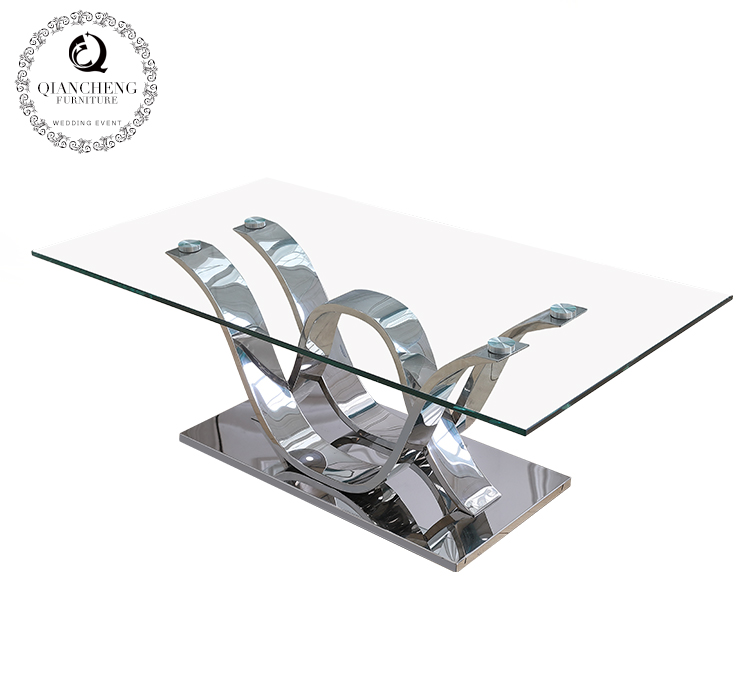 European streamlined stainless steel coffee table  #960