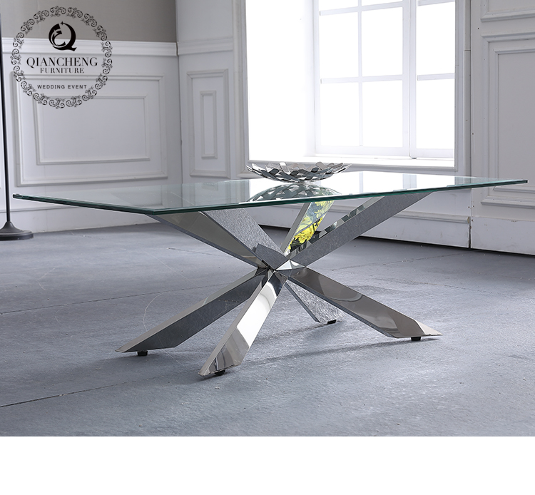 classic X shape glass coffee table for home use 962#