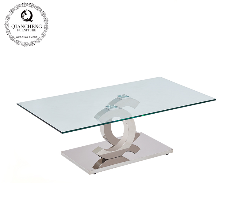 double C clear glass stainless steel coffee table  825#