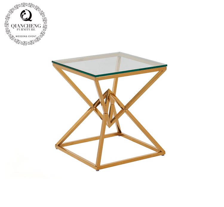 Modern living room set gold stainless steel coffee side table with glass top #1077