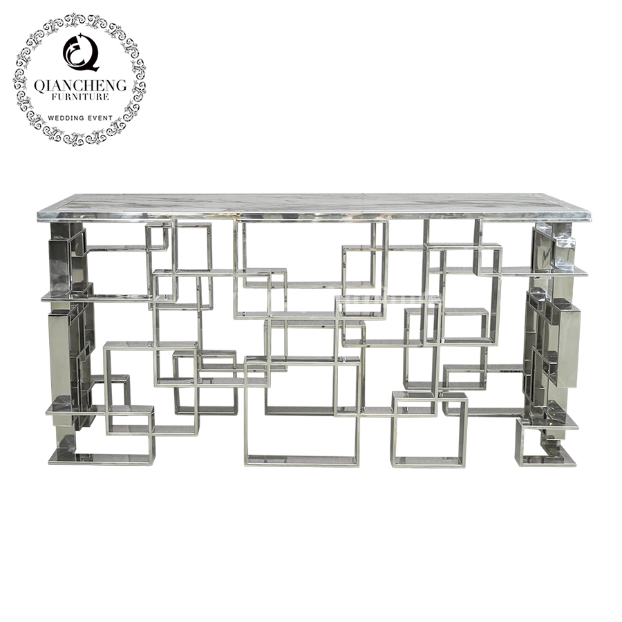 French stainless steel console table with marble top 1691#