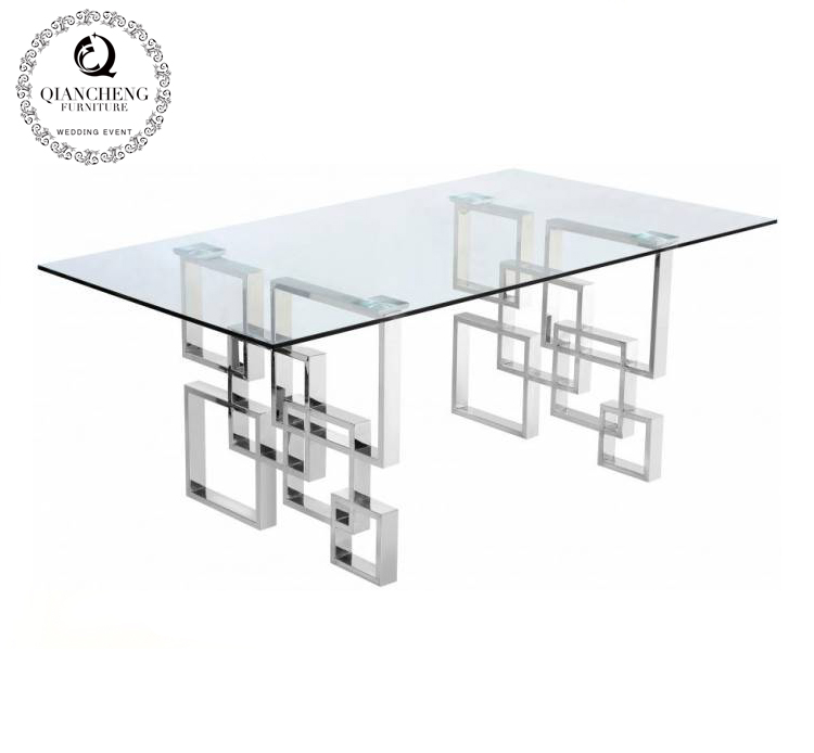 Glass top stainless steel dining room table set 1635#