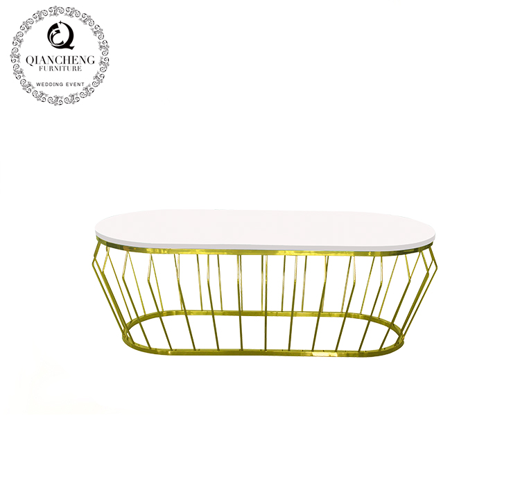 golden oval coffee table for hotel use #1677