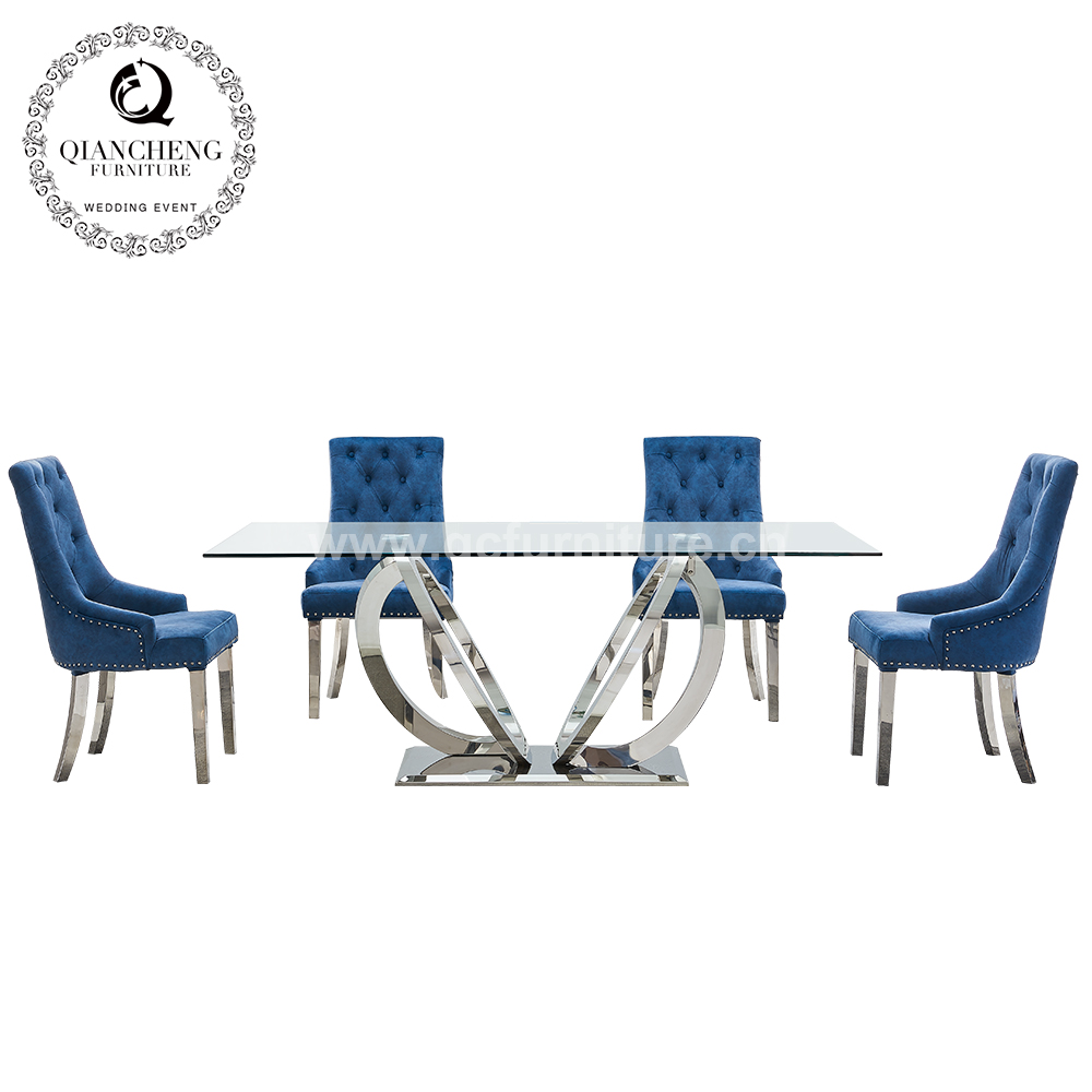 hot sale 6 seater stainless steel dining table with glass 1726#