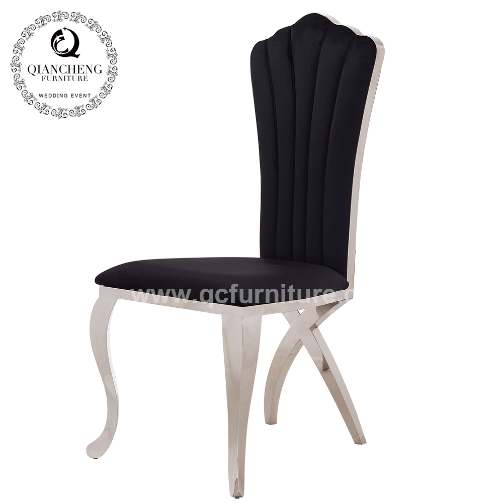 French style sector high back stainless steel modern dining chair for wedding and banquet C097#