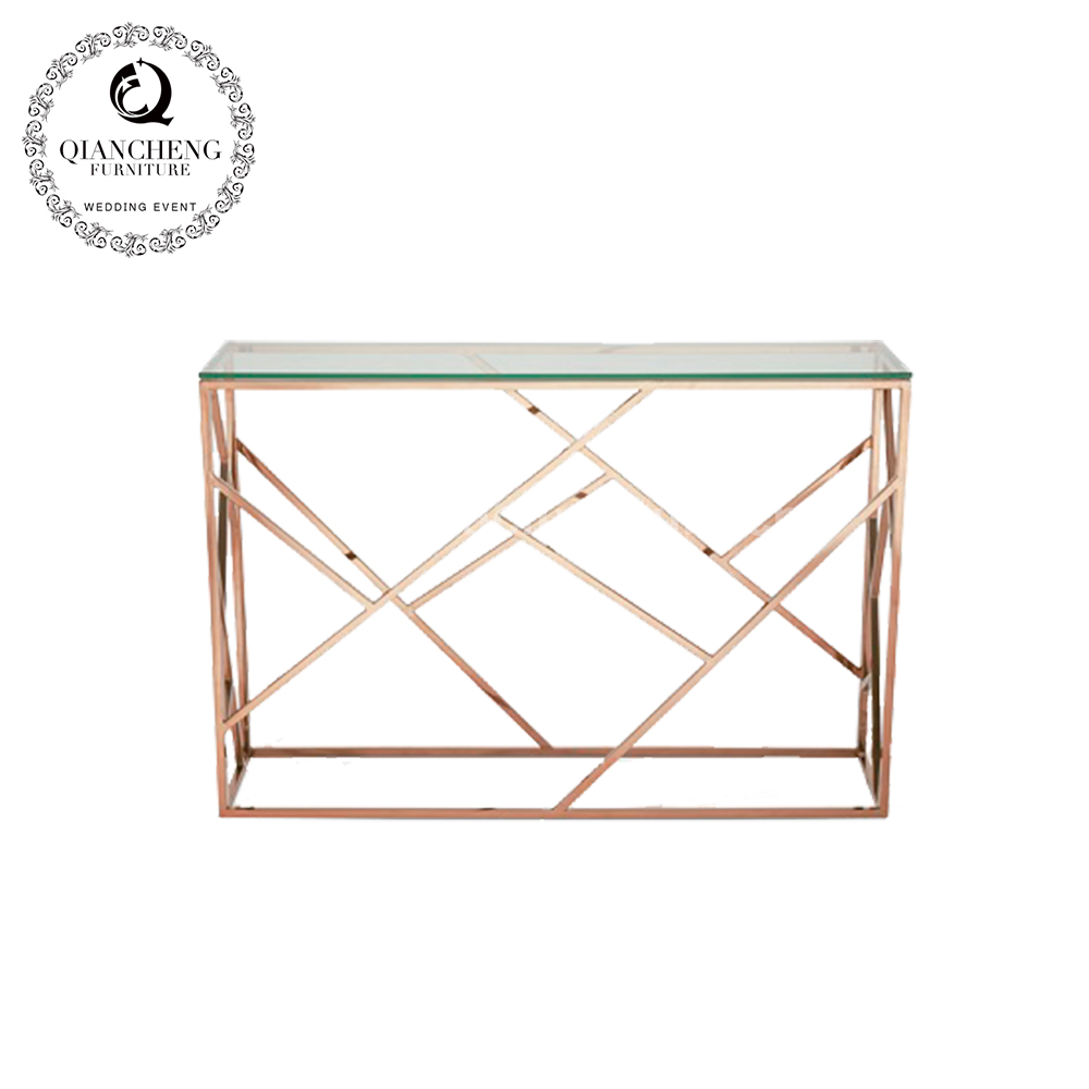 Popular console table glass top stainless steel furniture 1076#