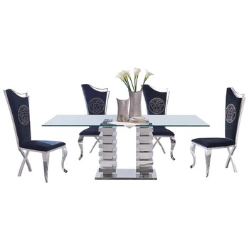 luxury furniture high back dining room metal legs dining chair C194#