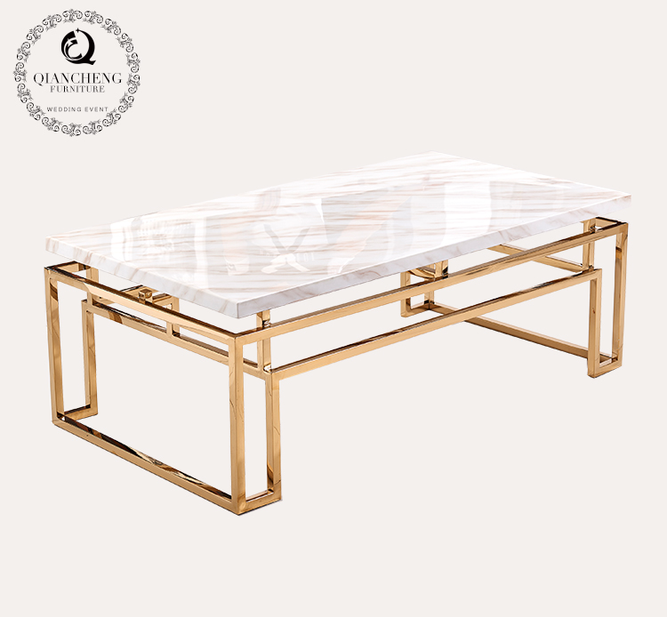 golden luxury rectangle white marble coffee table 931-1#