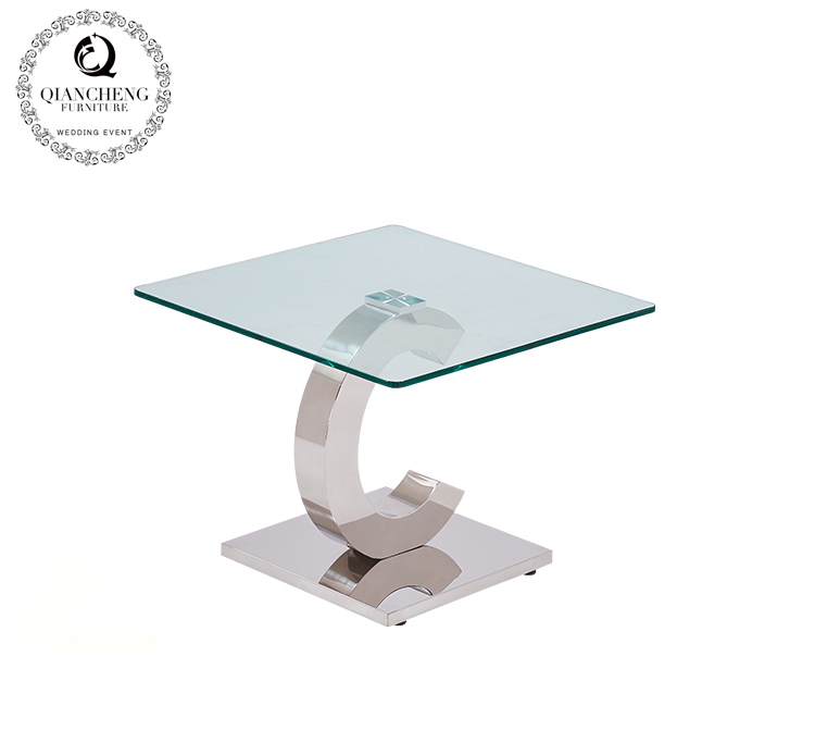 glass top stainless steel C shaped side table 825#