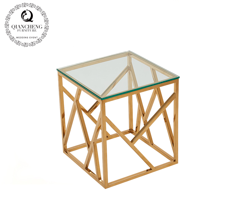 square shape modern living room gold glass side table 1076#