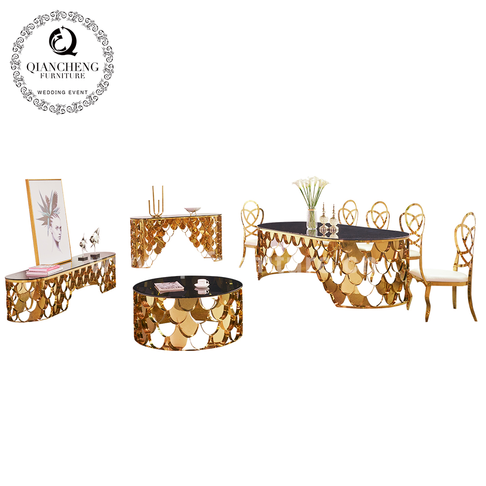 luxury golden stainless steel oval console table for hotel  805-4#