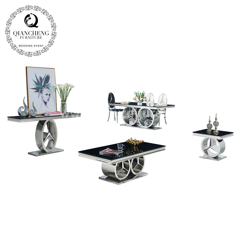 fashionable black glass side table with mirror silver stainless steel base 998#